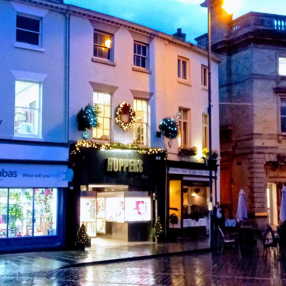 Business Sponsors: Town centre shops sponsoring trees and festive displays