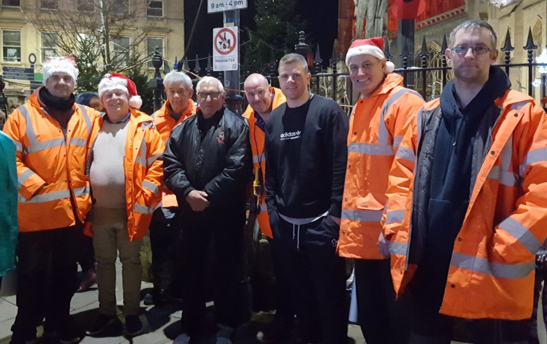 Famous Boxer and local lad Callum Johnson switched on last years lights, pictured here with the Christmas in Boston team.